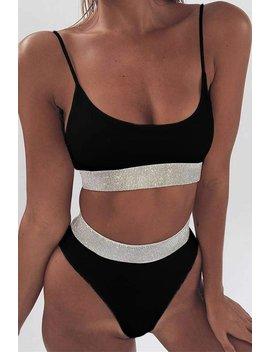 Sparkle Side Banded High Waist 2 Pieces Bikini by Lupsona