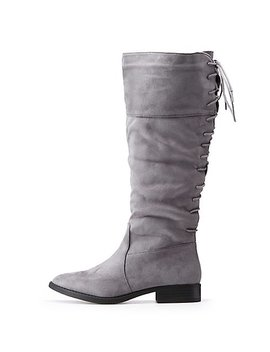Lace Up Riding Boots by Charlotte Russe
