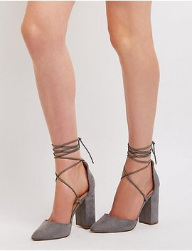 Pointed Toe Ankle Tie Sandals by Charlotte Russe