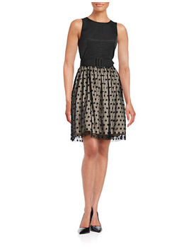 Sequin Dot Fit And Flare Dress by Eliza J