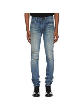 Blue Low Rise Skinny Jeans by Saint Laurent