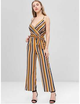 Crossover Striped Cami Wide Leg Jumpsuit   Multi S by Zaful