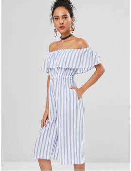 Off The Shoulder Striped Culotte Jumpsuit   Multi L by Zaful