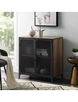 Urban Industrial Rustic Oak Accent Cabinet With Metal Mesh Doors by Pier1 Imports