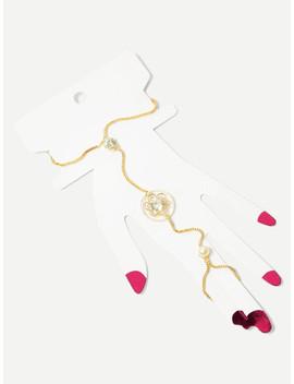 Rhinestone Chain Bracelet With Linked Finger by Sheinside