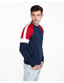 Color Block Fleece Crew Neck Sweatshirt by Express