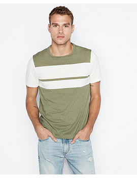 Chest Stripe Crew Neck Tee by Express