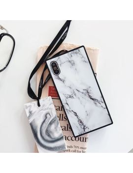 For I Phone X 8 7 6s Plus Shockproof Marble Square Silicone/Gel/R<Wbr>Ubber Case Cover by Dinguier