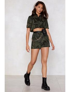 Hiding From Responsibilities Camo Hoodie And Shorts Set by Nasty Gal