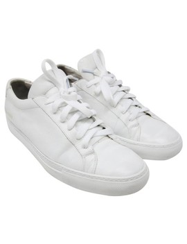 White Signature Achilles Luxury Leather Low Sneakers Sneakers by Common Projects