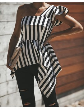 Avant Garde Striped One Shoulder Top by Vici