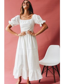 Surrounded By Rose Off Shoulder Midi Dress by Vergegirl