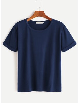 Rolled Sleeve Tee by Romwe