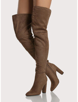 Pointy Toe Cylinder Heel Thigh High Boots Dark Taupe by Sheinside