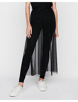 High Waisted Sheer Tulle Midi Skirt by Express