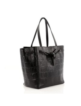 Cabas Phantom With Crocodile Embossed Black Leather Tote by Céline