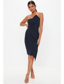 Navy Bandeau Origami Midi Dress by Missguided
