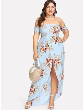 Plus Floral Print Split Long Dress by Sheinside