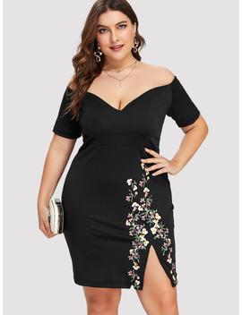 Plus Off Shoulder Floral Print Split Hem Dress by Sheinside