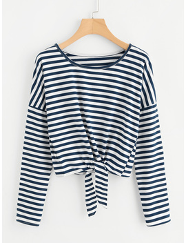 Knot Front Striped Tee by Romwe