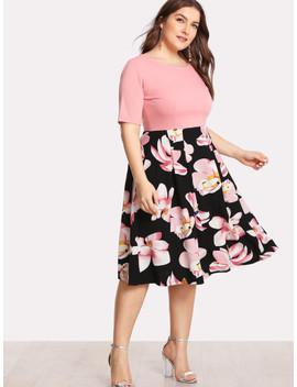 Plus Flower Print Combo Dress by Sheinside