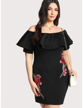 Plus Embroidered Rose Patch Flounce Bardot Dress by Shein