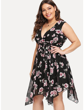Plus Floral Print Knot Dress by Sheinside