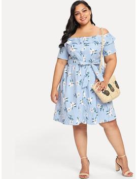 Plus Ruffle Cold Shoulder Polka Dot & Striped Dress by Shein