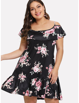 Plus Floral Print Ruffle Hem Dress by Sheinside
