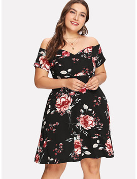 Plus Flower Print Off Shoulder Dress by Shein