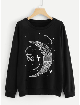 Moon And Star Print Sweatshirt by Sheinside