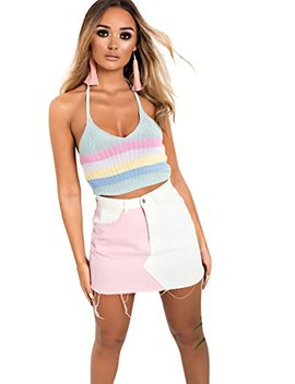 Ikrush Womens Tamara High Waisted Colour Block Skirt by Ikrush