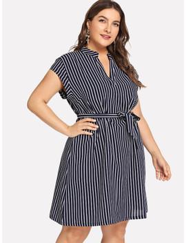Plus V Neck Striped Dress by Sheinside