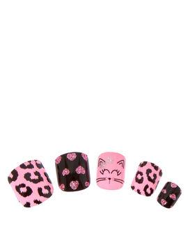 Pink & Black Cat Motif Press On False Nails by Claire's