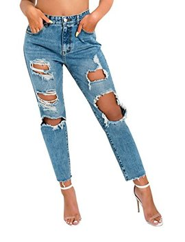 Ikrush Womens Afia Distressed Mom Jeans by Ikrush