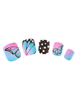 Butterfly Polka Dot Press On False Nails by Claire's