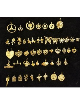 14 K Solid Gold Pendants   Hearts, Lion, Mercedes, Cadillac, Bmw, Butterfly, Unicorn, Playboy, Cowboys, Roses, Rangers, Snoopy And More! by Dallas Vintage Jewelry