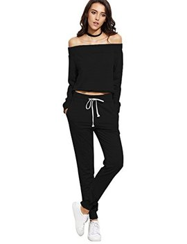 Sweaty Rocks Women's Two Piece Crop Top And Sweat Pant Set Sport Tracksuit Outfit by Sweaty Rocks