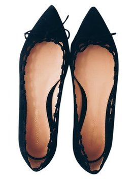 Black Suede Pointed Toe Flats by Gianvito Rossi