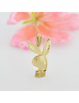 14k Yellow Gold Estate Diamond Cut Playboy Bunny Pendant by Jewelry Is Me2016