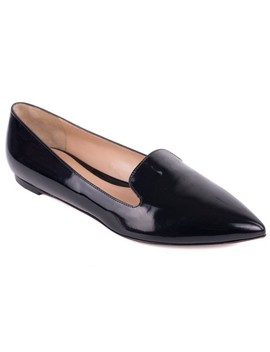 Black Patent Leather Pointed Toe Ballerina Flats by Gianvito Rossi