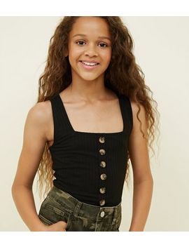 Girls Black Button Front Ribbed Vest by New Look
