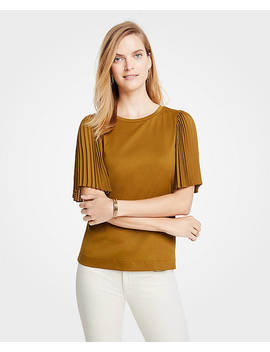 Mixed Media Pleated Sleeve Tee by Ann Taylor