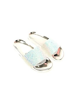 Ikrush Womens Gabi Iridescent Glitter Sliders by Ikrush