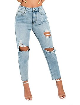 Ikrush Womens Mills Distressed Mom Jeans by Ikrush