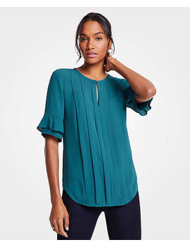 Ruffle Cuff Pintucked Top by Ann Taylor
