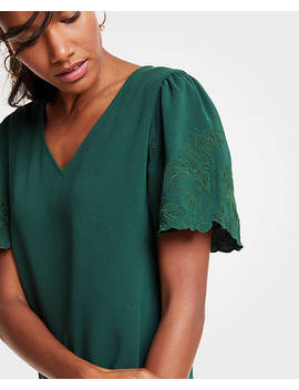 Embroidered Sleeve V Neck Tee by Ann Taylor