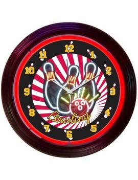 Bowling Neon Clock Sign Bowler Leagues Ball Red Big Lebowski Lanes Kingpin Bowl by Ebay Seller