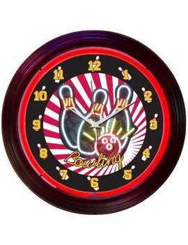 Bowling Neon Clock Sign Bowler Leagues Ball Red Big Lebowski Lanes Kingpin Bowl by Ebay Seller