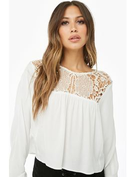 Lace Yoke Peasant Top by Forever 21